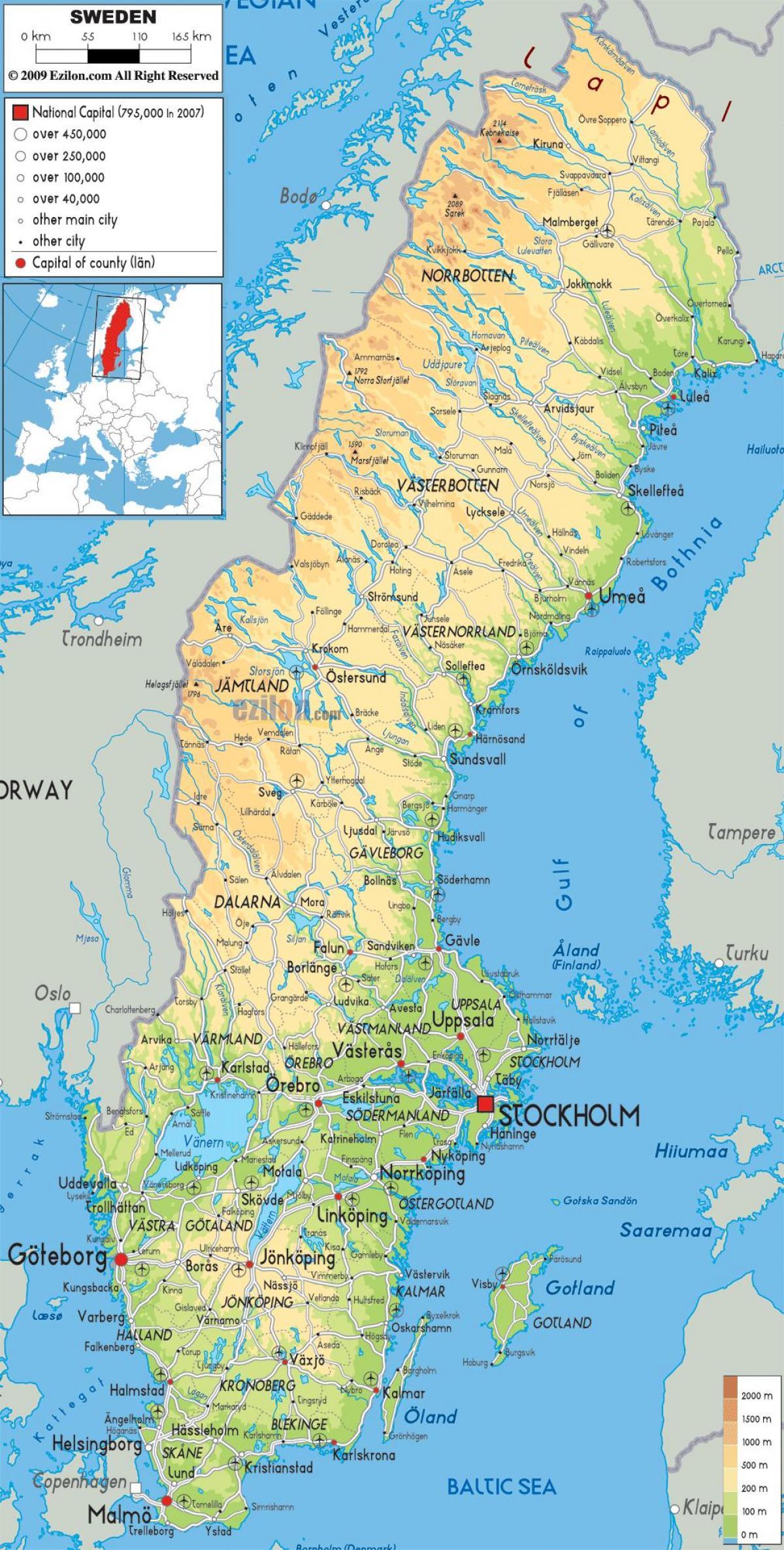 Cartina Geografica Nord Europa.Svezia Geografia Cartina Mappa Geografica Della Svezia Europa Del Nord Europa