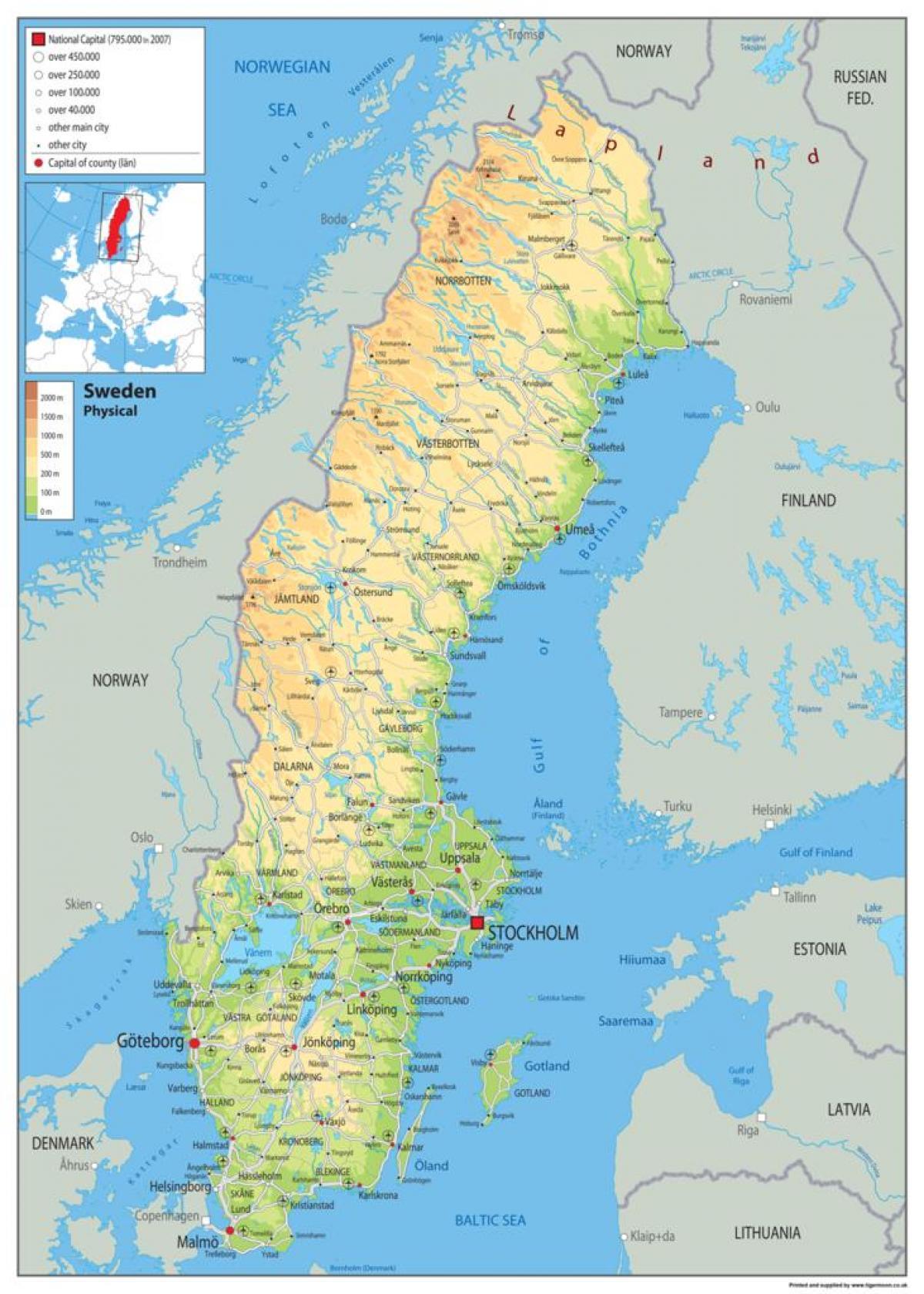 Cartina Della Svezia.Svezia Mappa Fisica Fisica Mappa Di Svezia Europa Del Nord Europa